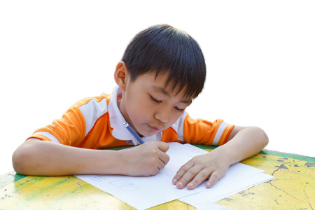 Photo for Boy drawing on a table - Royalty Free Image