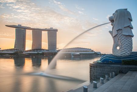 Photo pour Singapore Cityscape, Merlion - image libre de droit