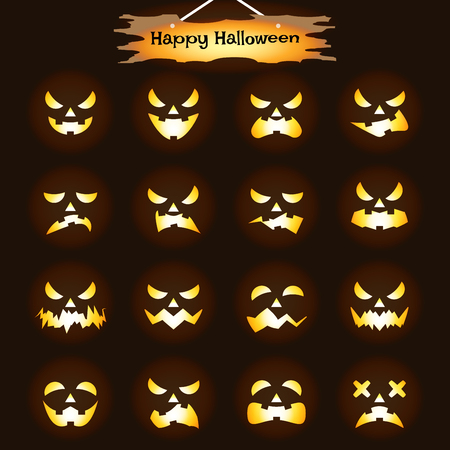 Ilustración de Vector Easy-To-Use 16 Flat Emoticons Of Jack O' Lantern Facial Expressions As Glowing Candle/Flame  Inside Pumpkin Heads On Black Background With  Happy Halloween Plank For Scary & Funny Reactions - Imagen libre de derechos