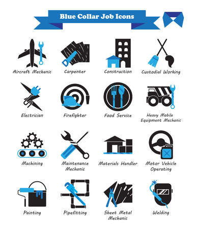 Illustration pour Vector Illustration Ready-To-Use 16 Blue Collar Job - Black And Blue Flat Icons As Multiple Professions Involved In Worker, Labor, Skill, Technical, Physical, Manufacturing, Mechanic, Maintenance. - image libre de droit