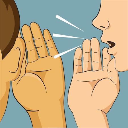 Illustration pour Woman whispering into someone ear telling her something secret, man listening gossip - image libre de droit