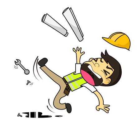 Ilustración de Construction engineer architect worker slipping on grease vector illustration - Imagen libre de derechos
