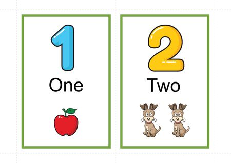 Ilustración de printable number flashcards for teaching number, flashcards number, a4 with dotted line cut - Imagen libre de derechos