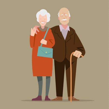 Happy grandparents.  illustration in cartoon style