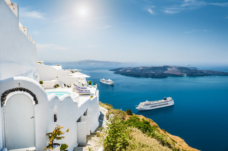 Photo for White architecture on Santorini island, Greece.  Beautiful landscape with sea view - Royalty Free Image