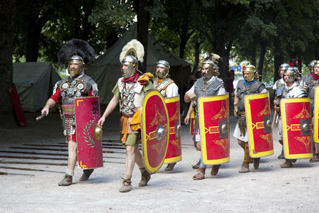 Roman spectacle in Autun, with gladiators and legionaries, on August 5, 2018, in Autun, Burgundy, France.