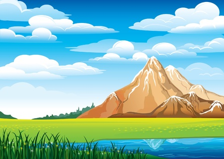 Ilustración de Green landscape with meadow, blue lake and mountains on a cloudy sky background - Imagen libre de derechos