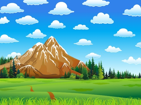 Illustration pour Green landscape with meadow, forest and mountains on a cloudy sky background - image libre de droit