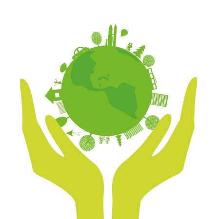 Illustration for human hands and green planet on a white background - Royalty Free Image