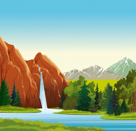 Summer green landscape with beautiful waterfall, forest and mountains on a blue sky