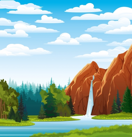 Illustration pour Summer green landscape with beautiful waterfall and forest on a blue cloudy sky - image libre de droit