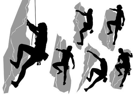 collection of silhouettes of climbers