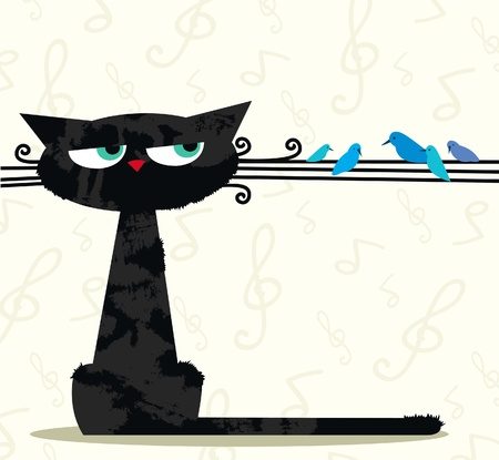 Cartoon black funny cat looking at the birds sitting on his mustache