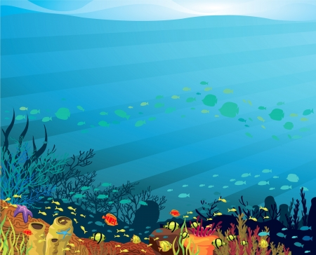 Underwater life - Coral reef with fish on a blue sea background