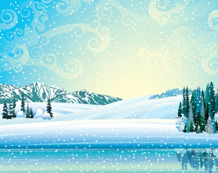 Illustration pour Vector winter landscape with frozen forest, lake and mountains on a snowfall background. - image libre de droit
