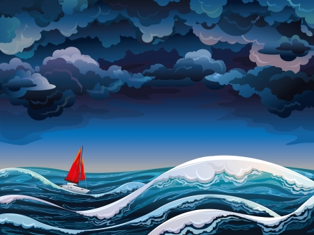 Illustration pour Night seascape with red sailboat and stormy sky - image libre de droit