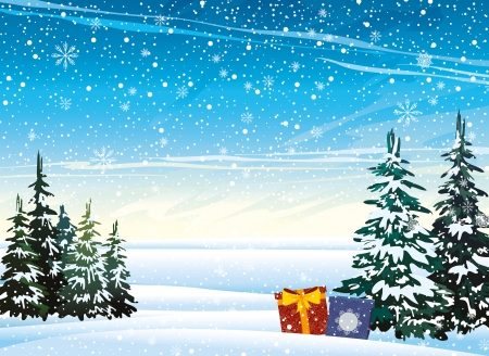 Illustration for Winter nature landscape with presents and snowfall  - Royalty Free Image