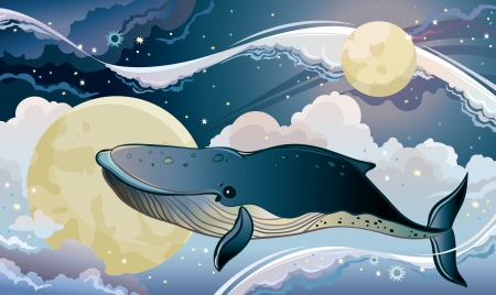 Illustration for Cartoon blue whale flying on a night starry sky. Fantastic vector cloudscape. - Royalty Free Image