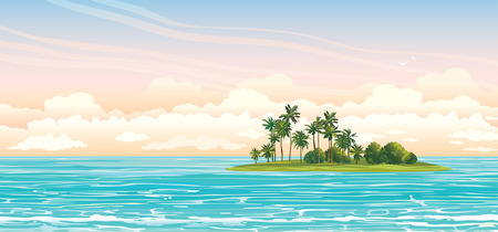 Ilustración de Green island with coconut palms in the blue sea on a cloudy sky. Vector seascape illustration. - Imagen libre de derechos