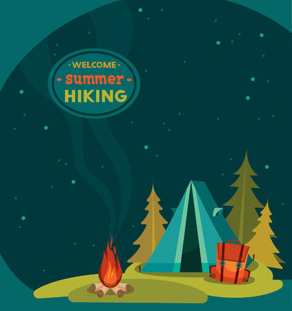 Illustration pour Summer hiking - vector illustration with blue tent, backpack and campfire on a night starry sky background. - image libre de droit