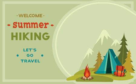 Ilustración de Summer hiking - vector illustration with blue tent, backpack and campfire on a green grass and mountain background. - Imagen libre de derechos