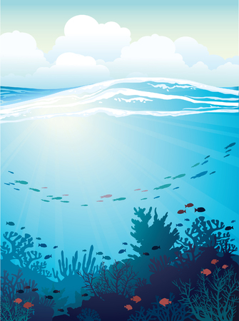 Ilustración de Coral reef with school of fish and white waves on a blue sea background. Vector underwater illustration. - Imagen libre de derechos