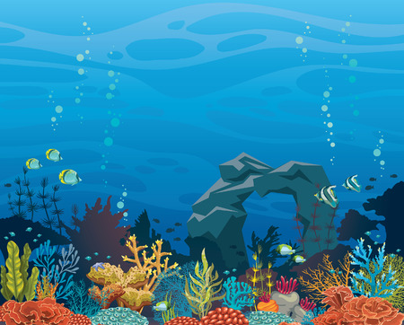 Ilustración de Colorful coral reef with fish and stone arch on a blue sea background. Undrewater tropical vector illustration. Natural seascape. - Imagen libre de derechos