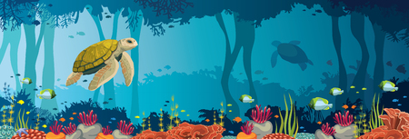 Illustration pour Yellow turtle, colorful coral reef, fishes and underwater cave on a blue sea. Ocean wildlife. Nature panoramic vector illustration. - image libre de droit