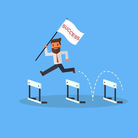 Ilustración de businessman with flag success jump over hurdles - Imagen libre de derechos