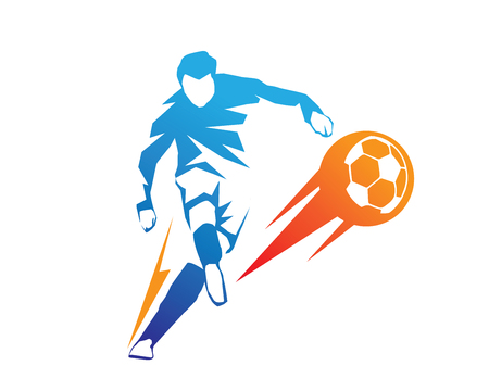 Passionate Modern Soccer Player In Action Logo - Aggressive On Fire Kick