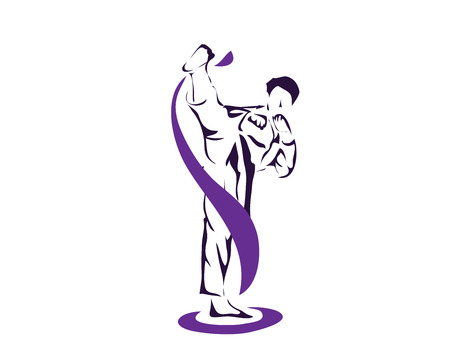 Aggressive Taekwondo Martial Art In Action Logo - Professional Athlete Warming Up Pose