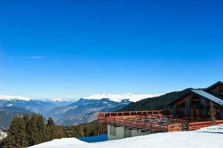 A view of the Meribel ski resort, French Alps