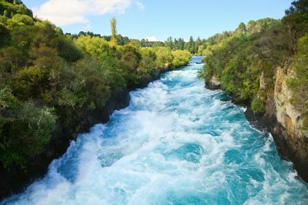 Photo for Narrow canyon of Huka  falls on the Waikato River, New Zealand - Royalty Free Image