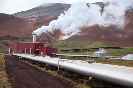 Foto de Pipes and steam of geothermal power Station in Iceland - Imagen libre de derechos