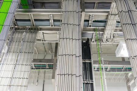 Foto de A Telecommunications cable tray in an industrial building - Imagen libre de derechos