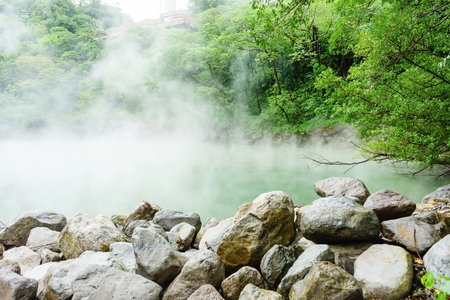 Foto de Hot steam at thermal valley, Beitou, Taipei, Taiwan - Imagen libre de derechos