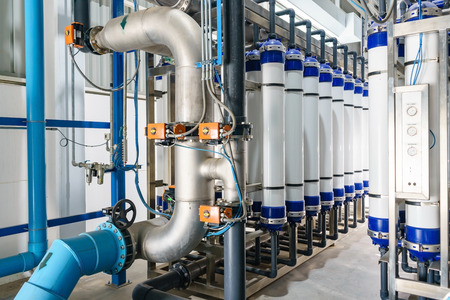 Photo pour Modern water filtrating and purification system for industrial factory - image libre de droit