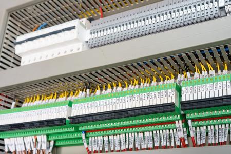 Foto de high technology Industrial Machine control by PLC programing logical control for manufacturing, The PLC Computer,PLC programable logic controler, - Imagen libre de derechos