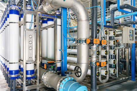 Photo pour Reverse osmosis system for water drinking plant. - image libre de droit