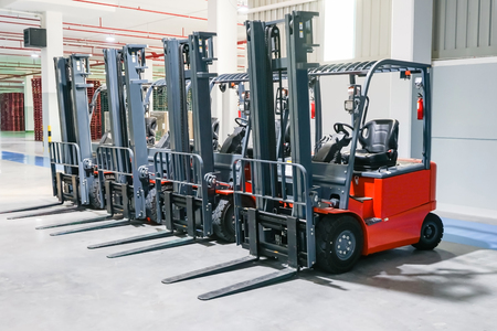 Photo for Forklift loader pallet stacker truck equipment at warehouse - Royalty Free Image