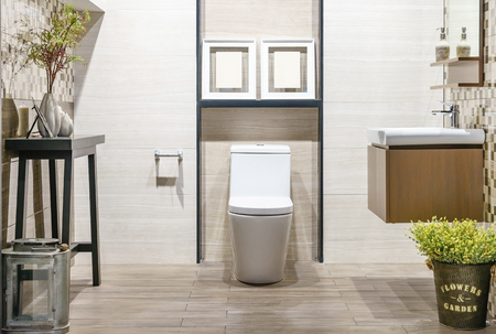 Photo for Close up of toilet bathroom interior with white ceramic seat - Royalty Free Image