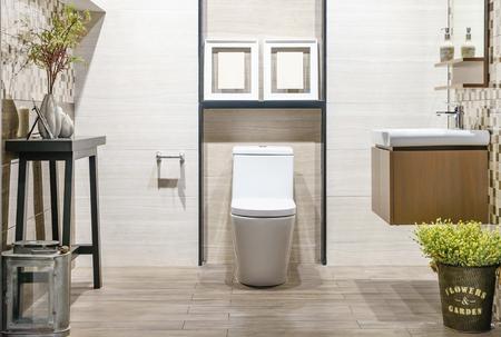 Foto de Close up of toilet bathroom interior with white ceramic seat - Imagen libre de derechos