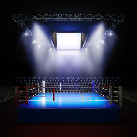 Foto de A 3d render illustration of empty professional boxing ring with illumination by spotlights  - Imagen libre de derechos
