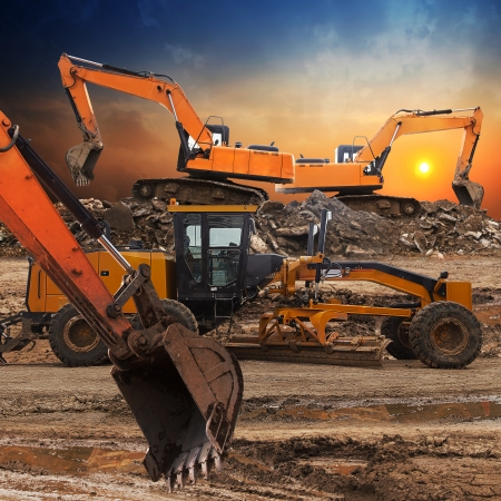 Photo for Excavator and grader working at construction site  - Royalty Free Image