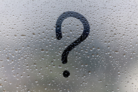 Photo for the inscription on glass, question mark concept - Royalty Free Image