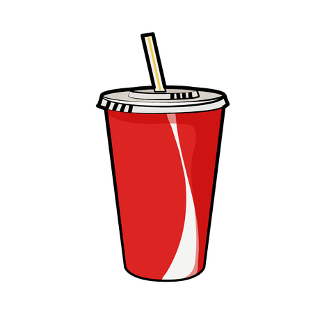 Ilustración de Isolated illustration of disposable red soda cup with straw for beverages for poster, menus, brochure, web and icon fastfood. Cartoon style with black outline on white background. Can be used as template - Imagen libre de derechos