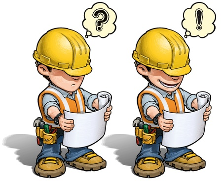 Photo pour Construction Worker - Reading Plan - image libre de droit