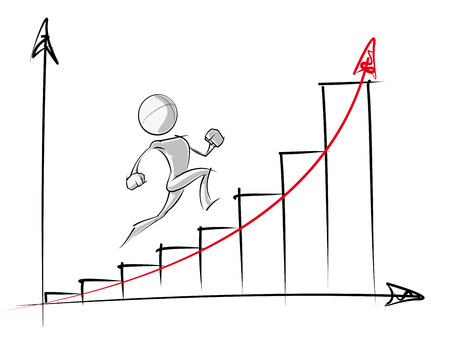 Illustration pour Sparse vector illustration of a of a generic cartoon character up an exponential growth chart. - image libre de droit