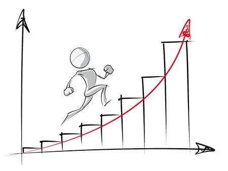 Ilustración de Sparse vector illustration of a of a generic cartoon character up an exponential growth chart. - Imagen libre de derechos