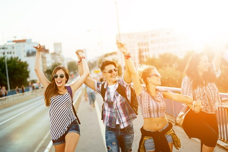 Photo pour Happy energetic, young people having fun - image libre de droit